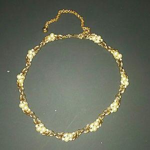 Vintage Crown Trifari Multi Pearl Crystal Necklace